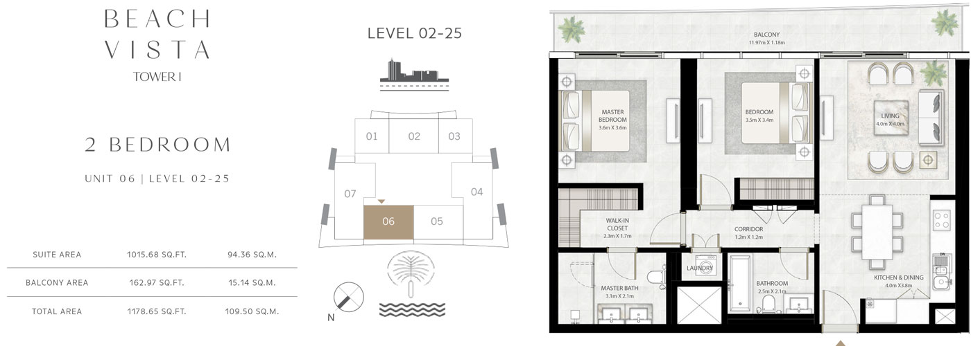 Tower 1 - 2 Bedroom-Size-1178.65 Sq.ft