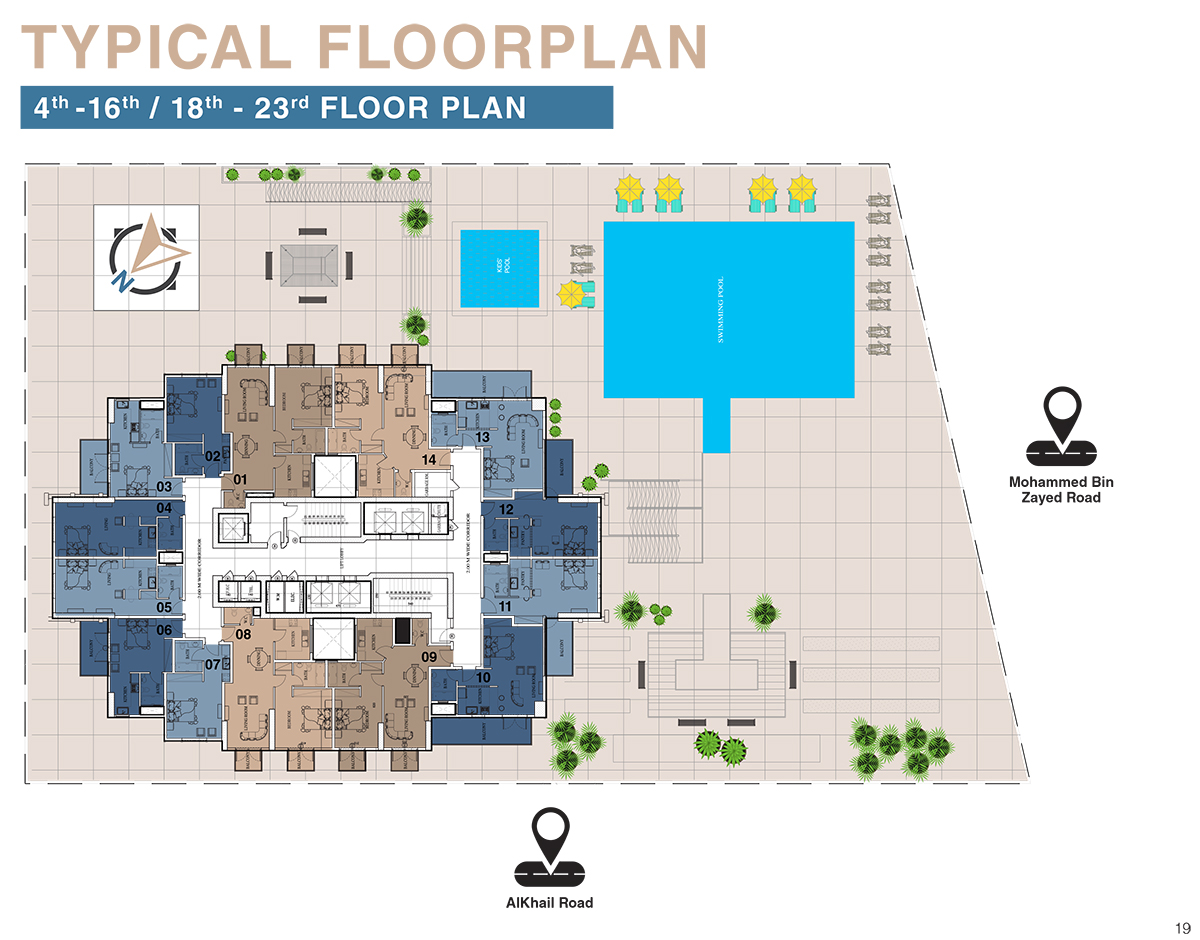 Typical Floor Plan - 4th to 16th and 18th to 23rd Floor