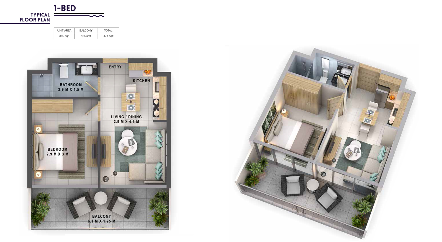 1 Bedroom  Size 474 sq.ft