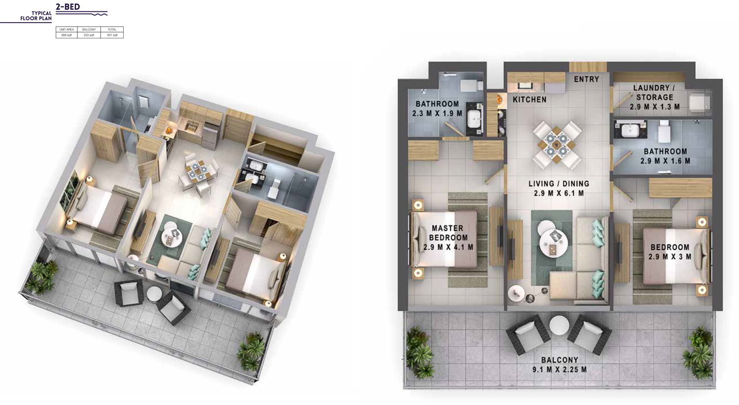 2 Bedroom Size 901 sq.ft