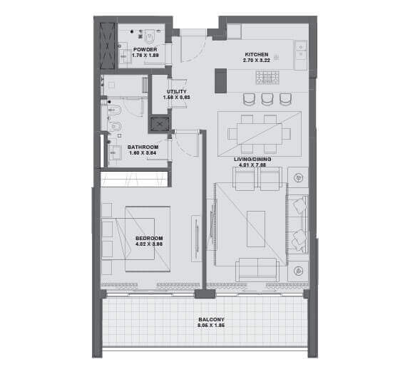 1 Bed - Ground Level to Level 6