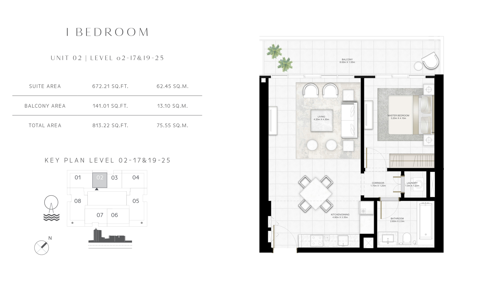 1 Bedroom Unit 02 Level 02-17 & 19-25 Size 813.22 sq.ft