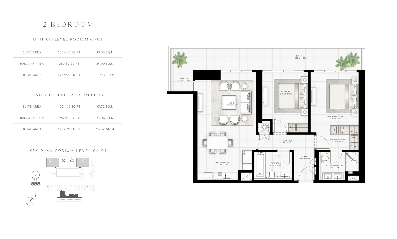 2 Bedroom Unit 01 Level 01 to 05 Size 1263.90 sq.ft