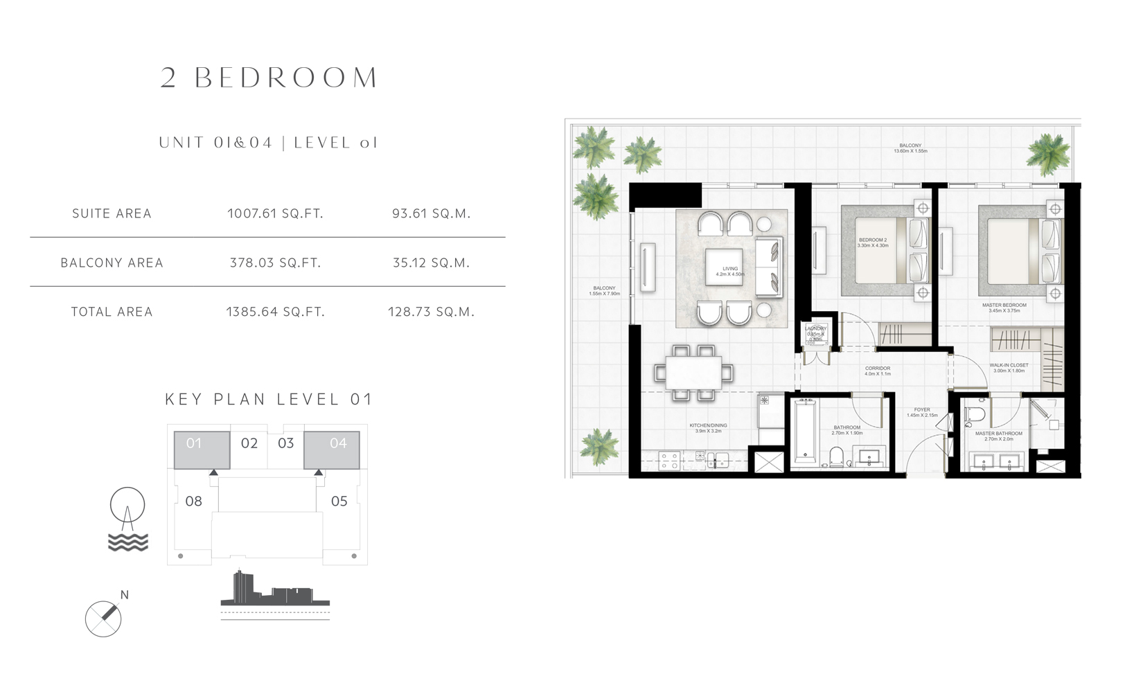 2 Bedroom Unit 01 - 04 Level 01 Size 1385.64 sq.ft