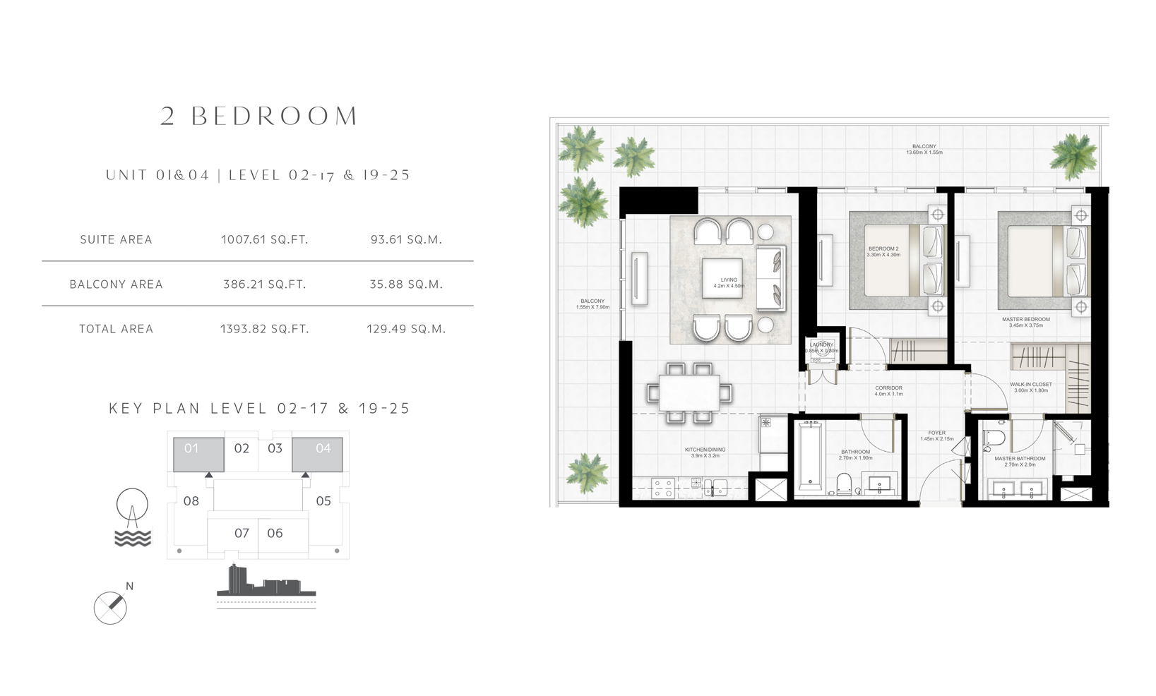 2 Bedroom Unit 01-04 Level 02-17 & 19-25 Size 1393.82 sq.ft
