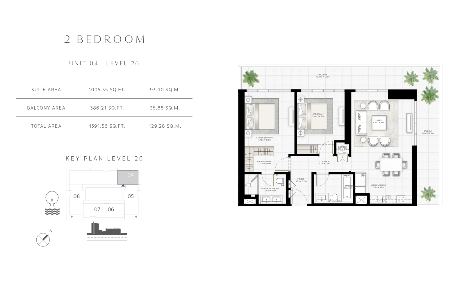 2 Bedroom Unit 04 Level 26 Size 1391.56 sq.ft