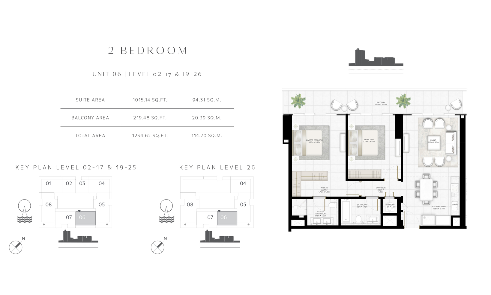 2 Bedroom Unit 06-08 Level 02-17 & 19-26 Size 1234.62 sq.ft