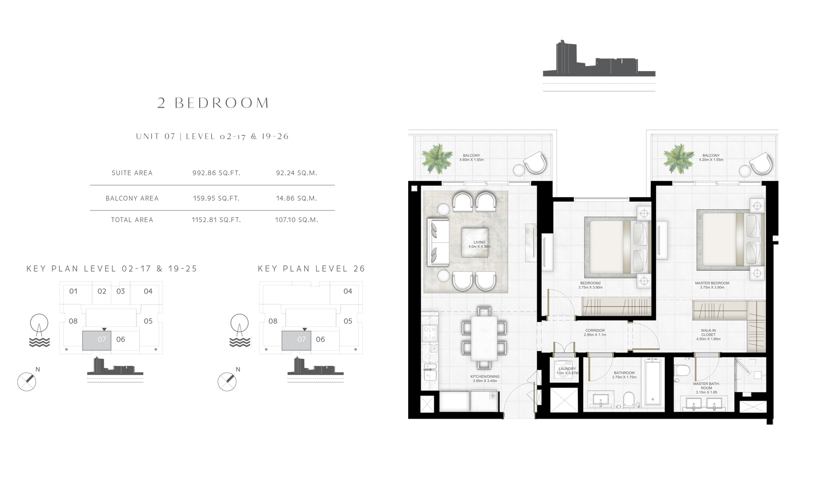 2 Bedroom Unit 07 Level 02-17 & 19-26 Size 1152.81 sq.ft