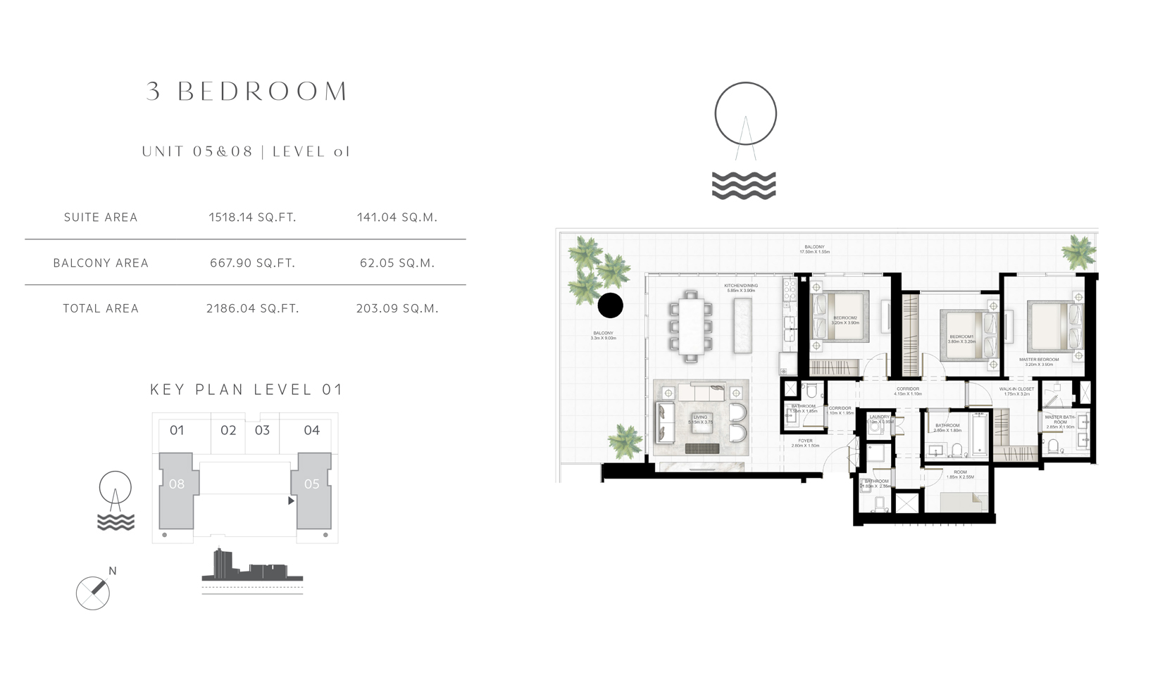 3 Bedroom Unit 05-08 Level  01 Size 2186.04 sq.ft