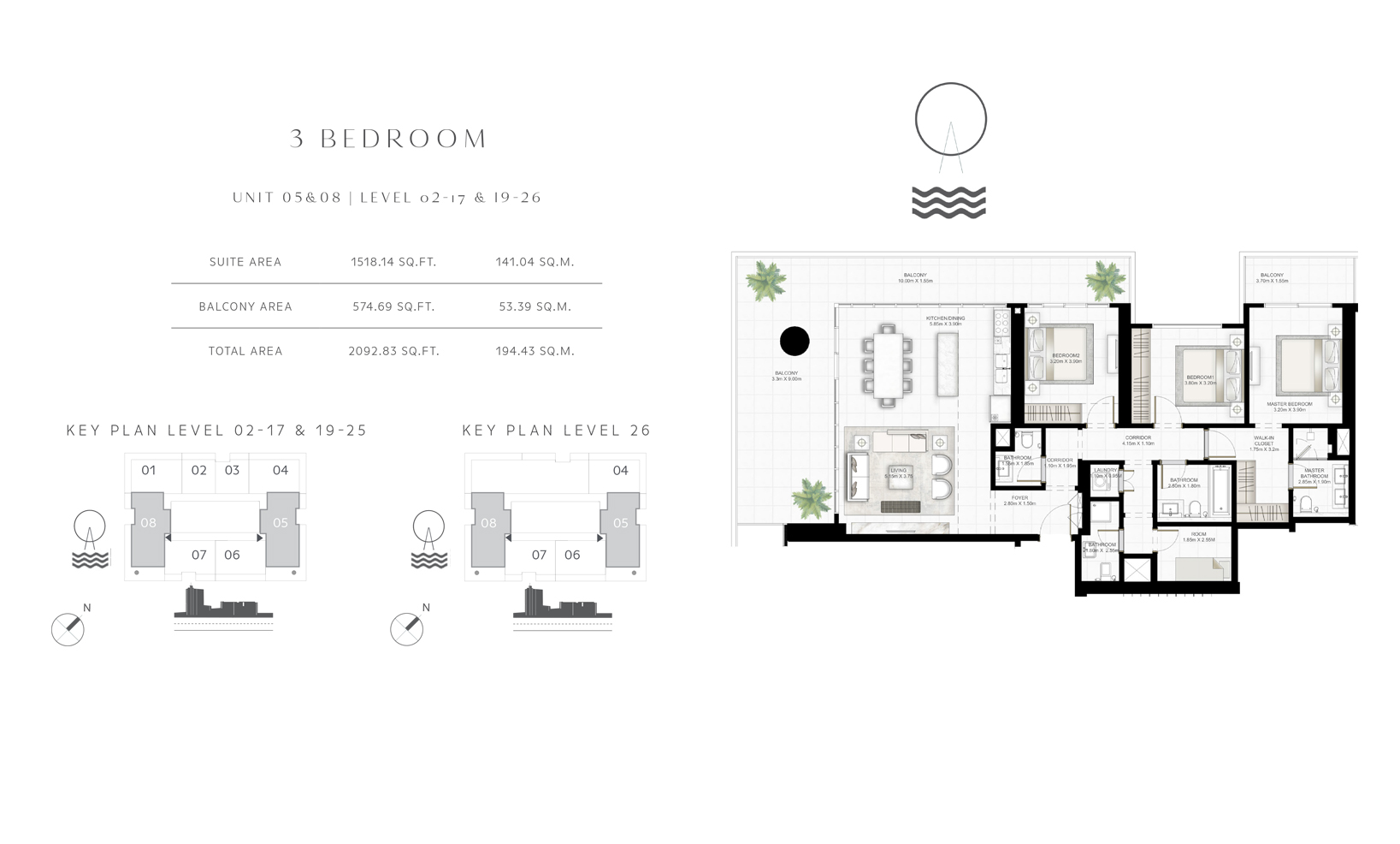 3 Bedroom Unit 05-08 Level 02-17 & 19-26 Size 2092.83 sq.ft