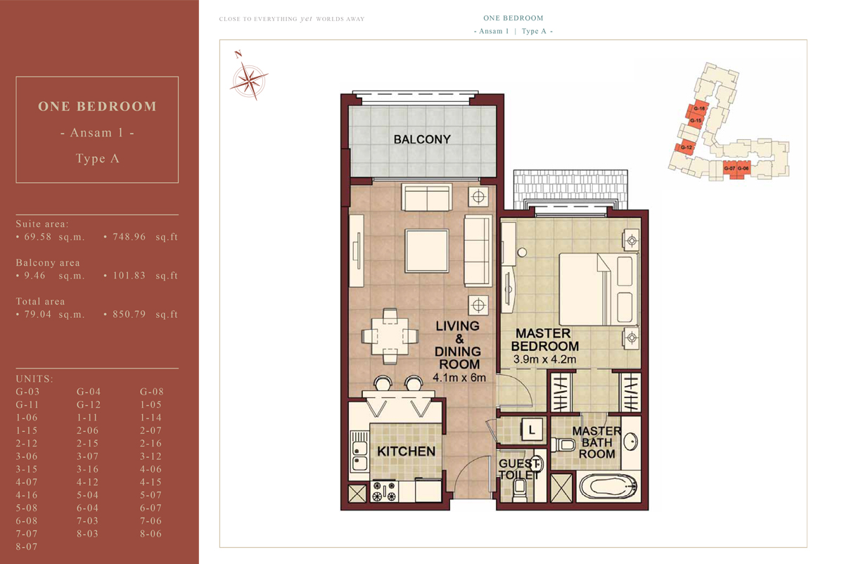 1 BEDROOM TYPE A, 850.79 Sqft