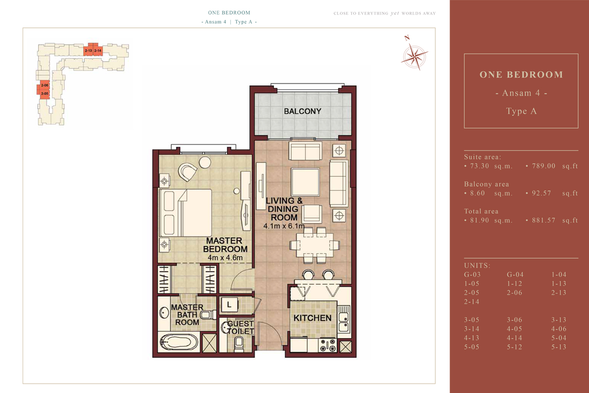 1 BEDROOM TYPE A, 881.57 Sqft