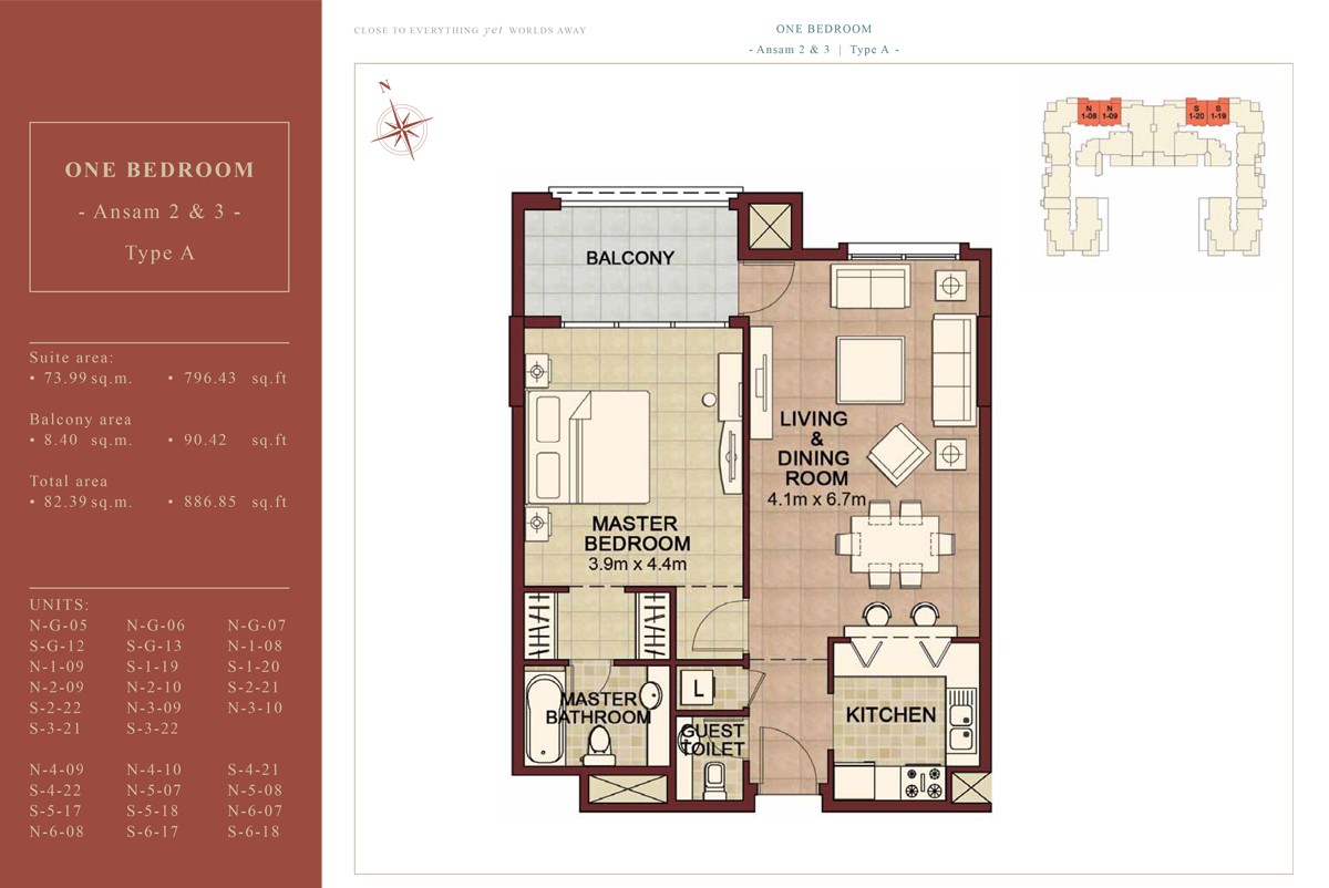 1 BEDROOM TYPE A, 886.85 Sqft