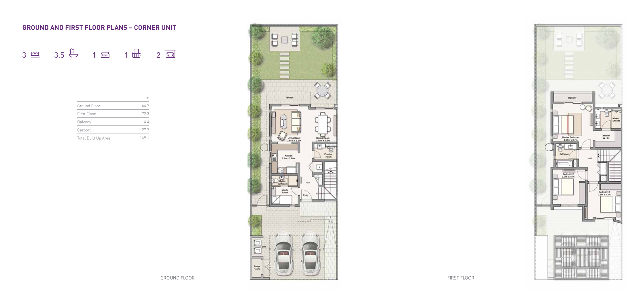 3 Bedroom Ground and First Floor Plans with 169 Sq Mtr