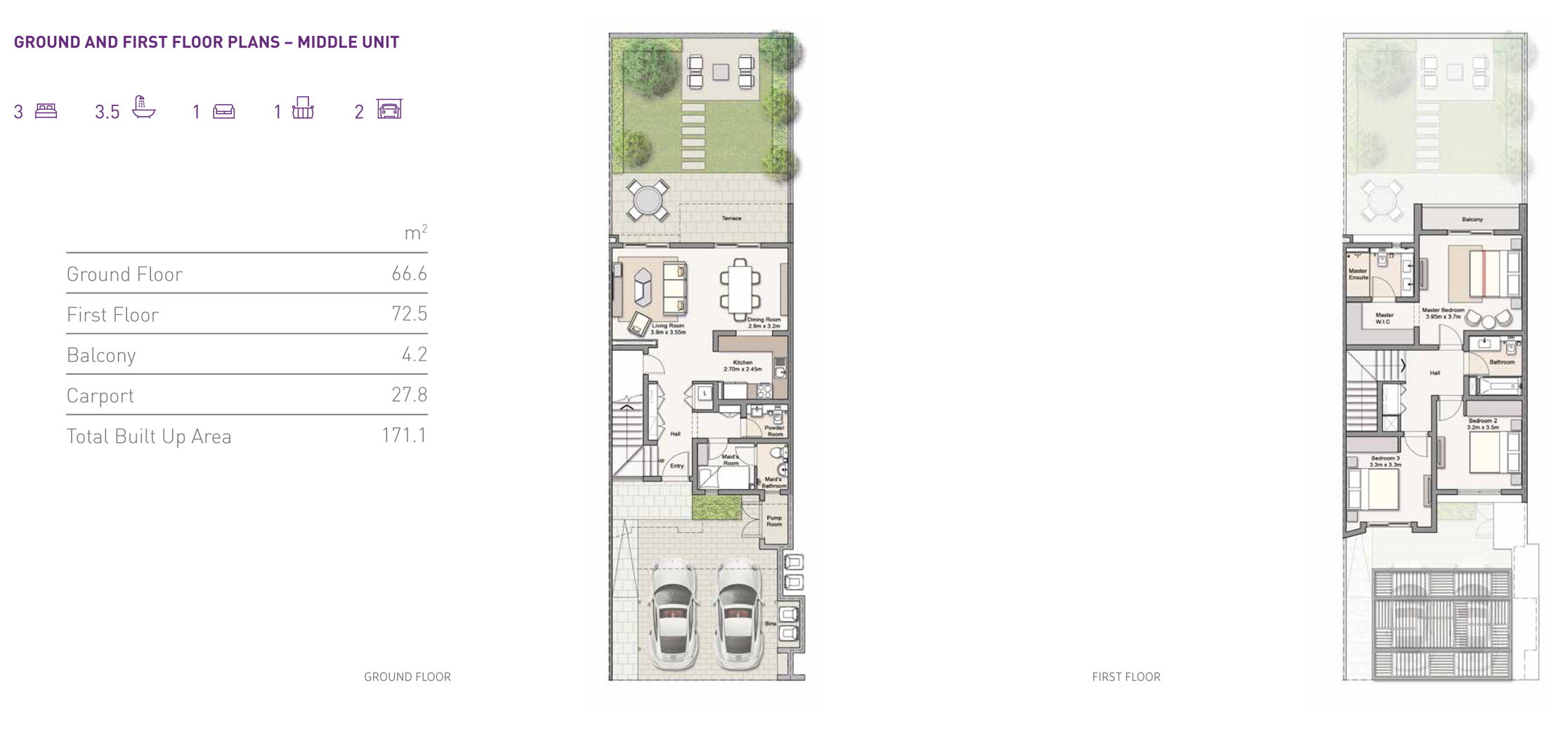 3 Bedroom Ground and First Floor Plans with 171 Sq Mtr