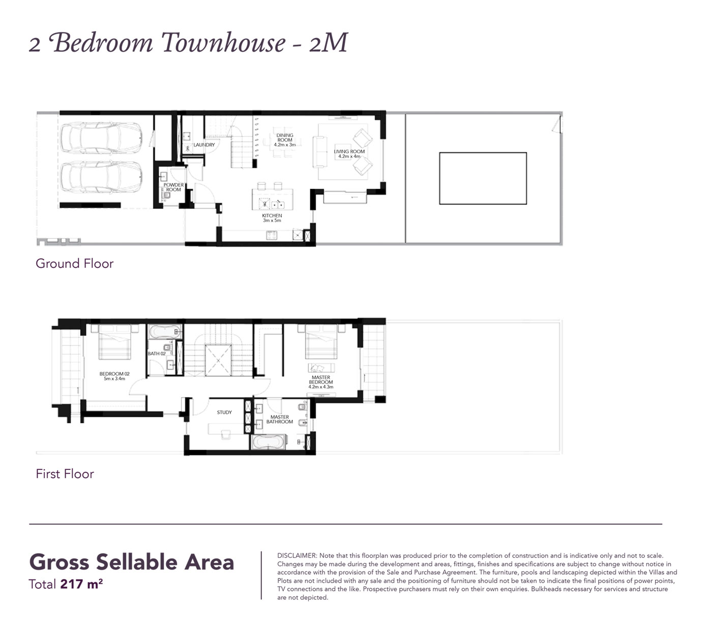2 Beds Townhouse - Built up area 2,335 SqFt