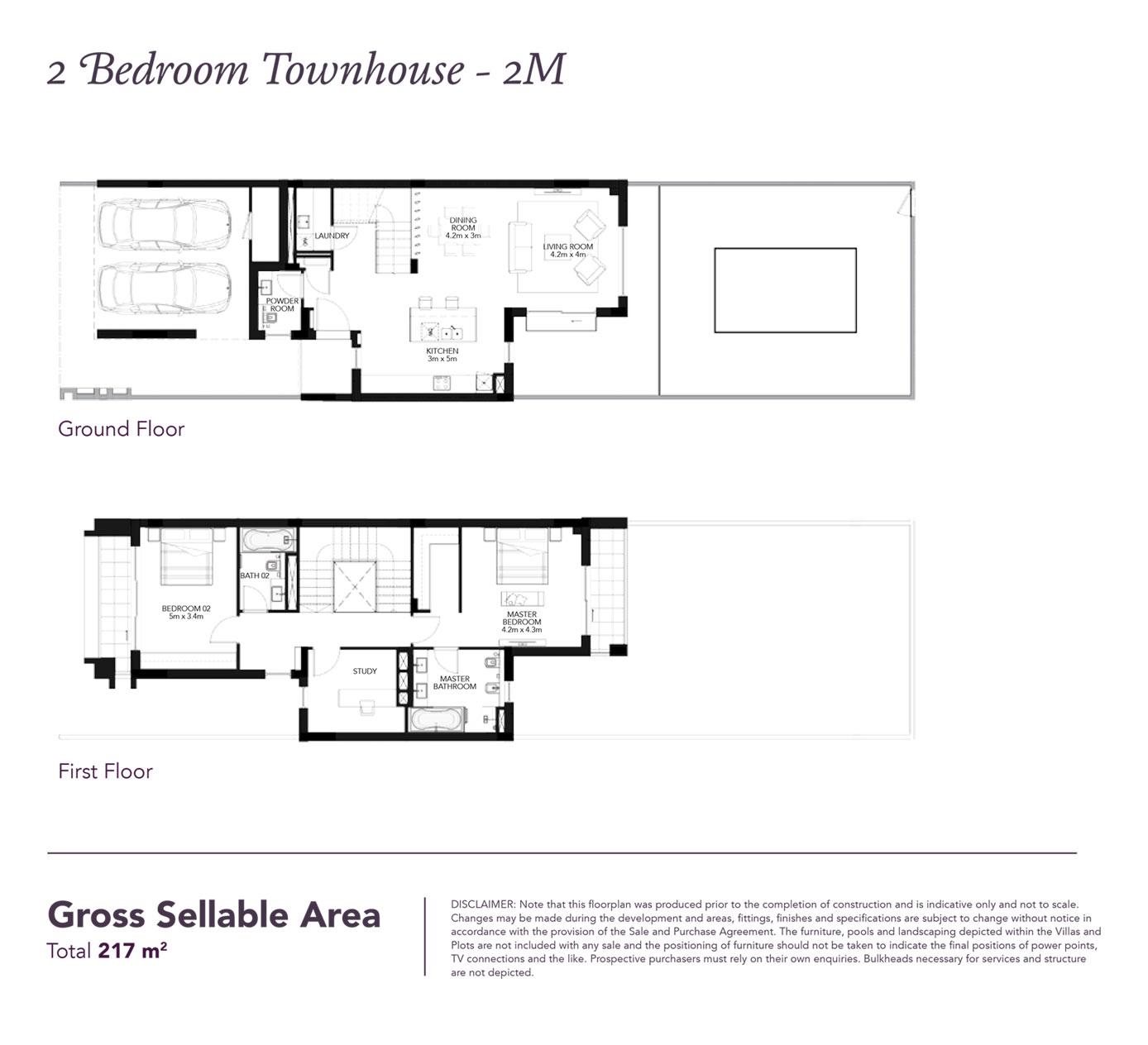 2 Beds Townhouse - Built up area 2,335 SqFt