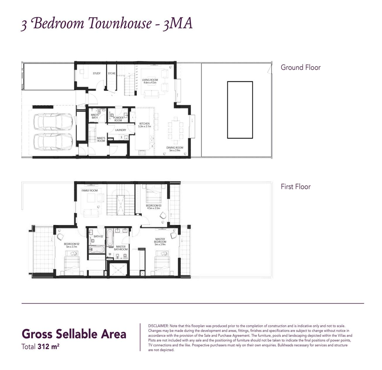 3 Beds Townhouse - Built up area 3,378 SqFt