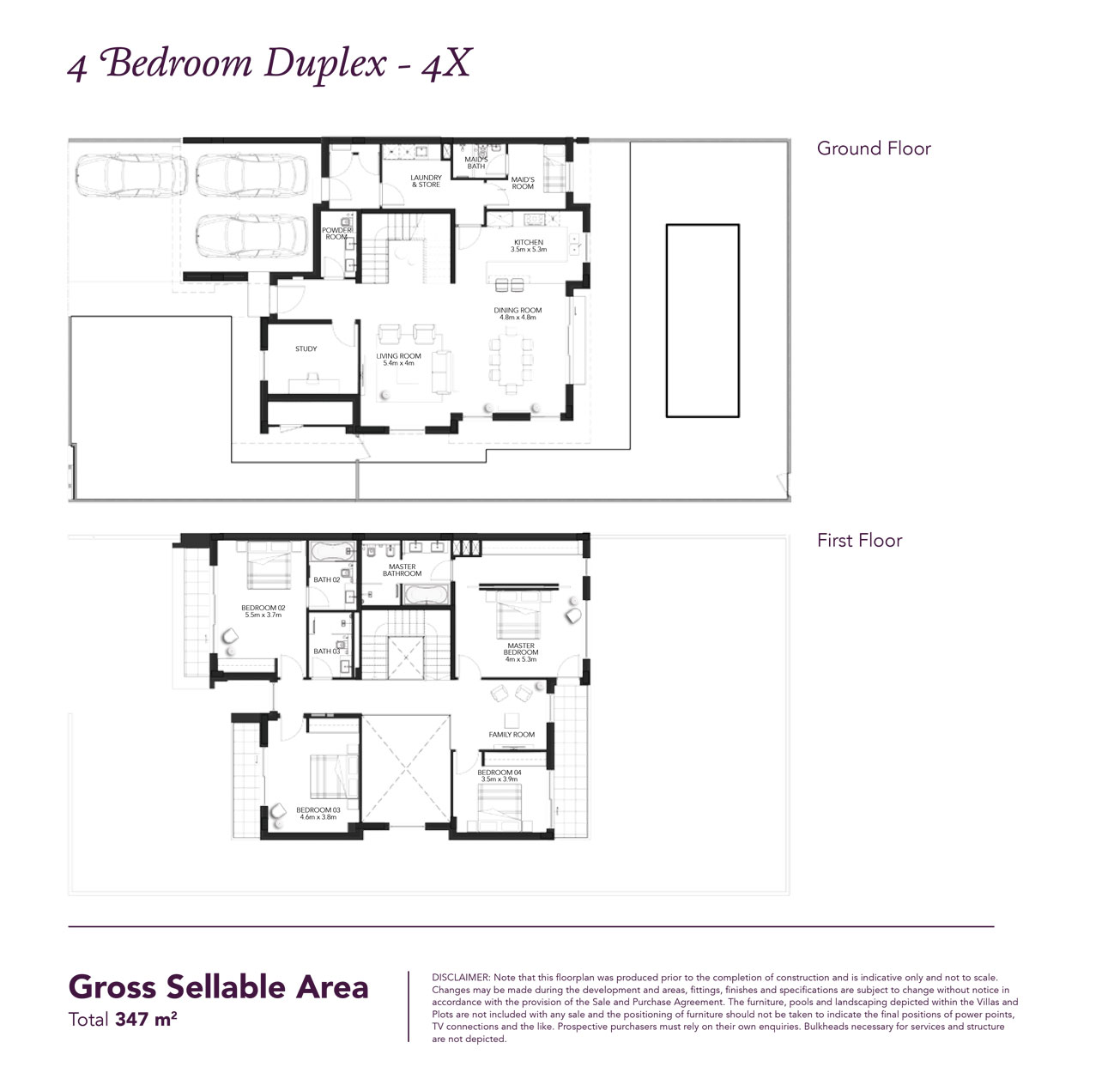 4 Beds Townhouse - Built up area 3,733 SqFt