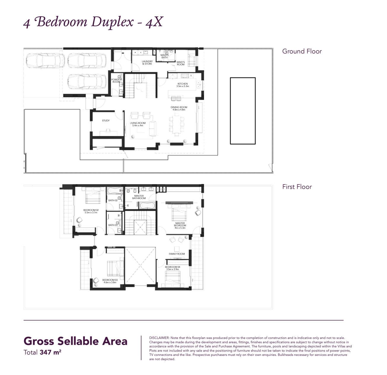 4 Beds Townhouse - Built up area 3,733 SqFt