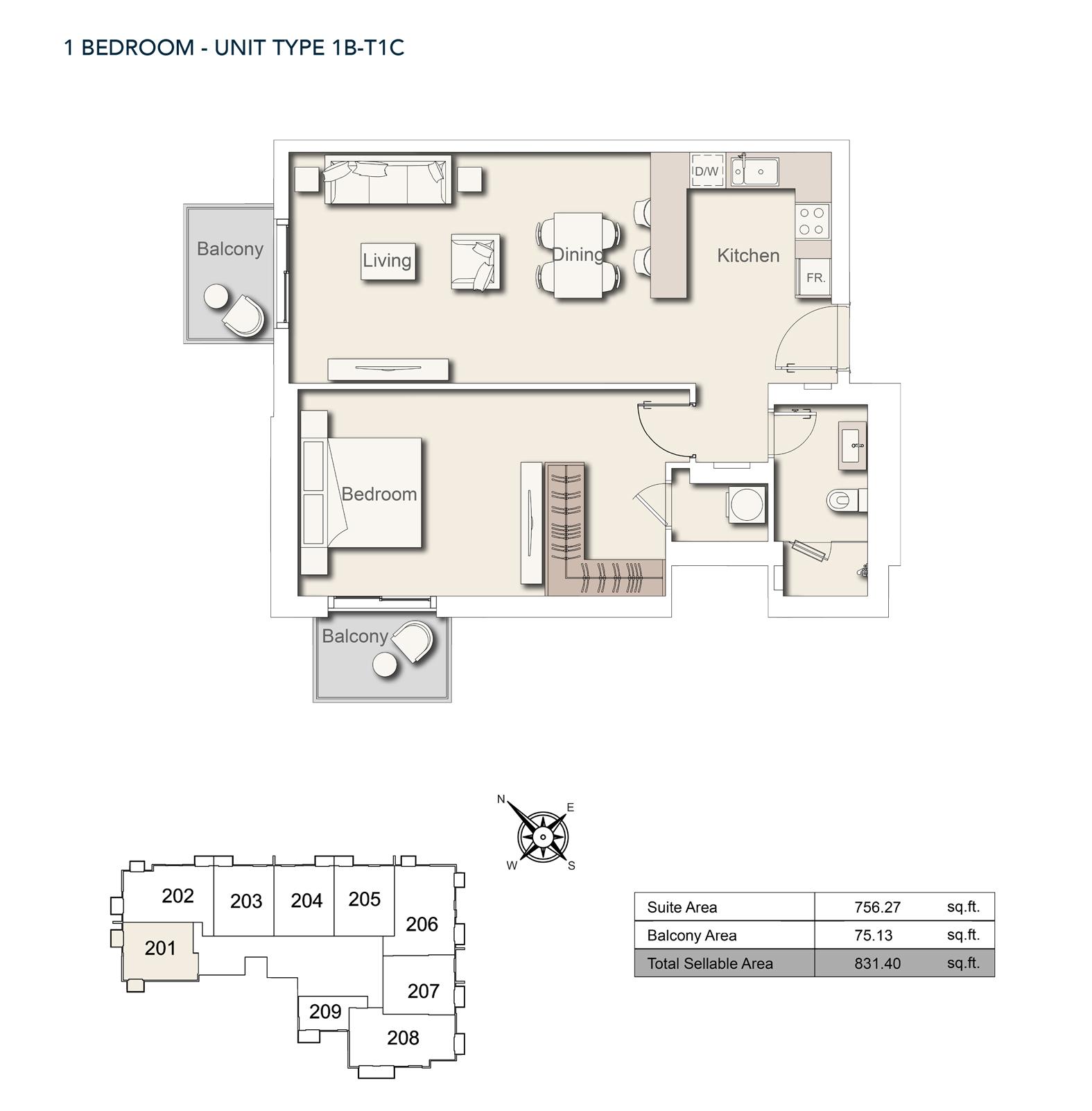 1bedroom-unittype-1b-t1c