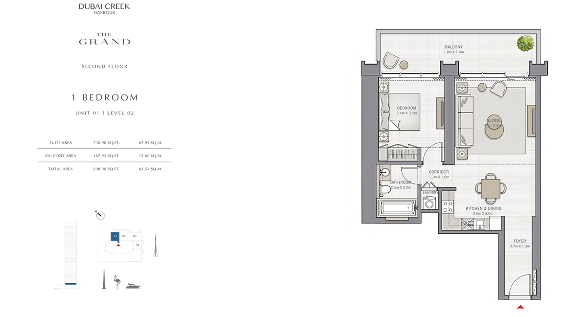 1 Bedroom Size 898.90 sq.ft