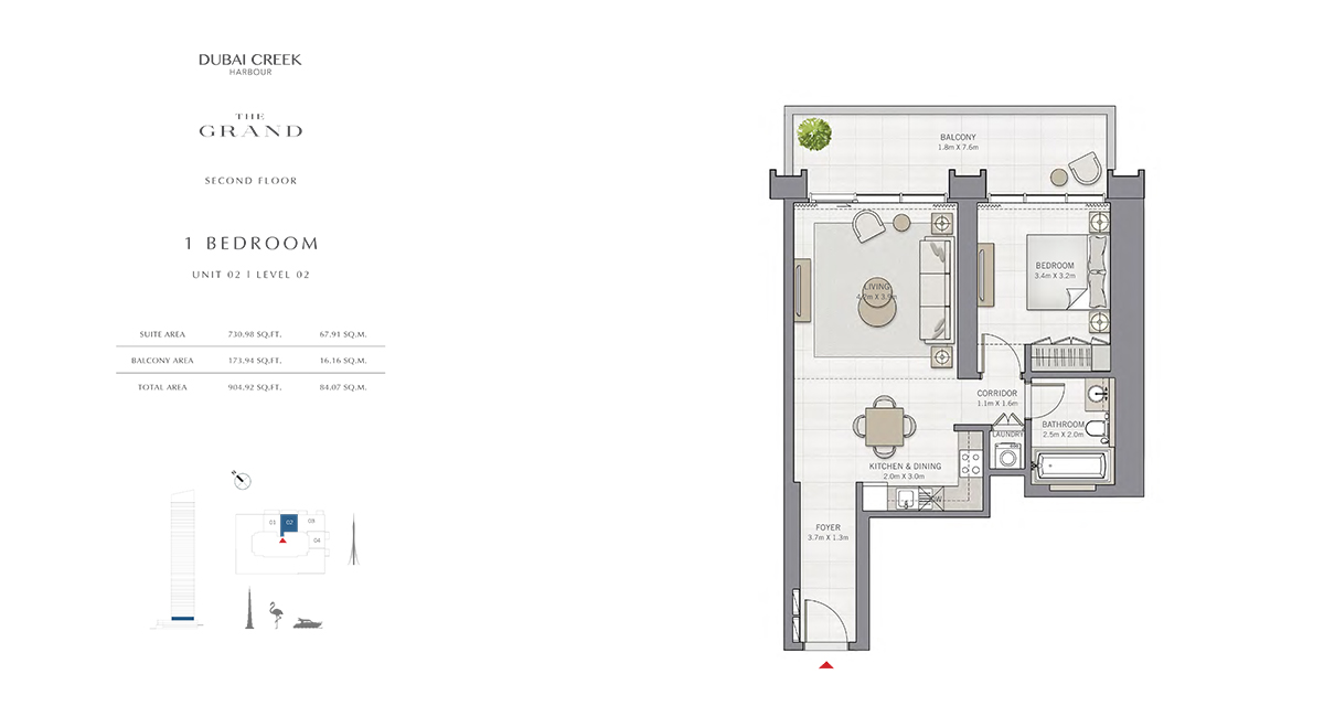 1 Bedroom Size 904.92 sq.ft