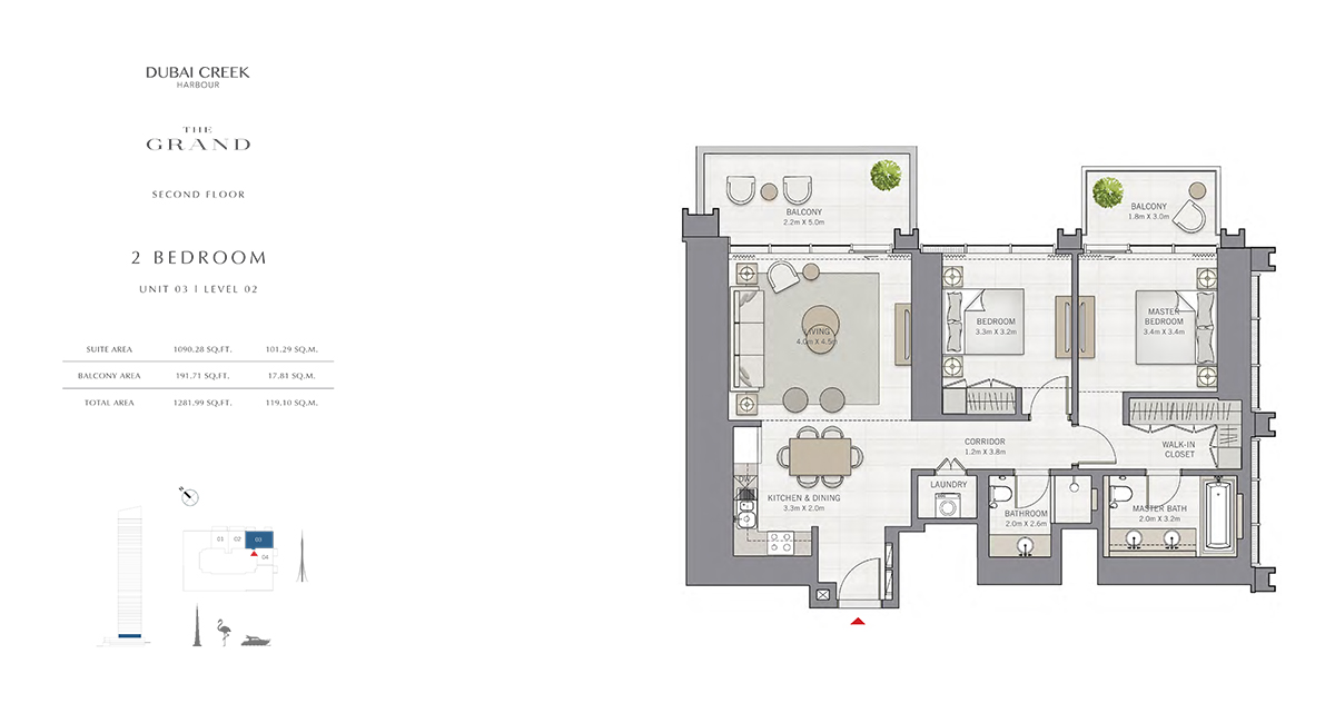 2 Bedroom Size 1281.99 sq.ft
