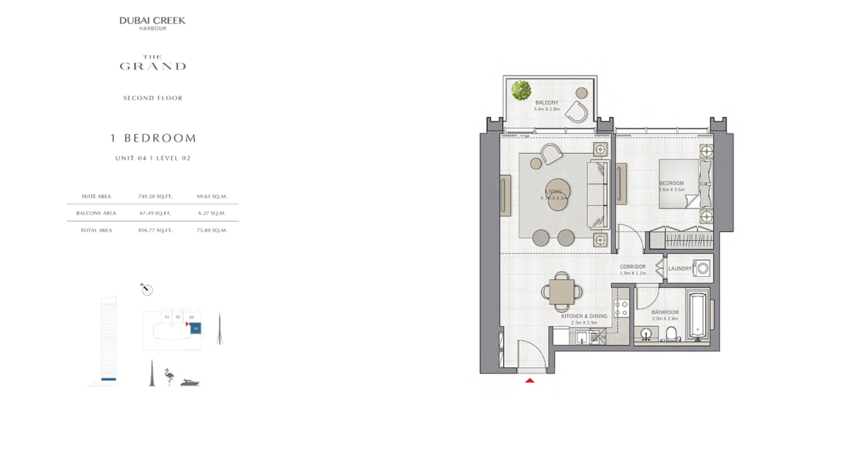 1 Bedroom Size 816.77 sq.ft