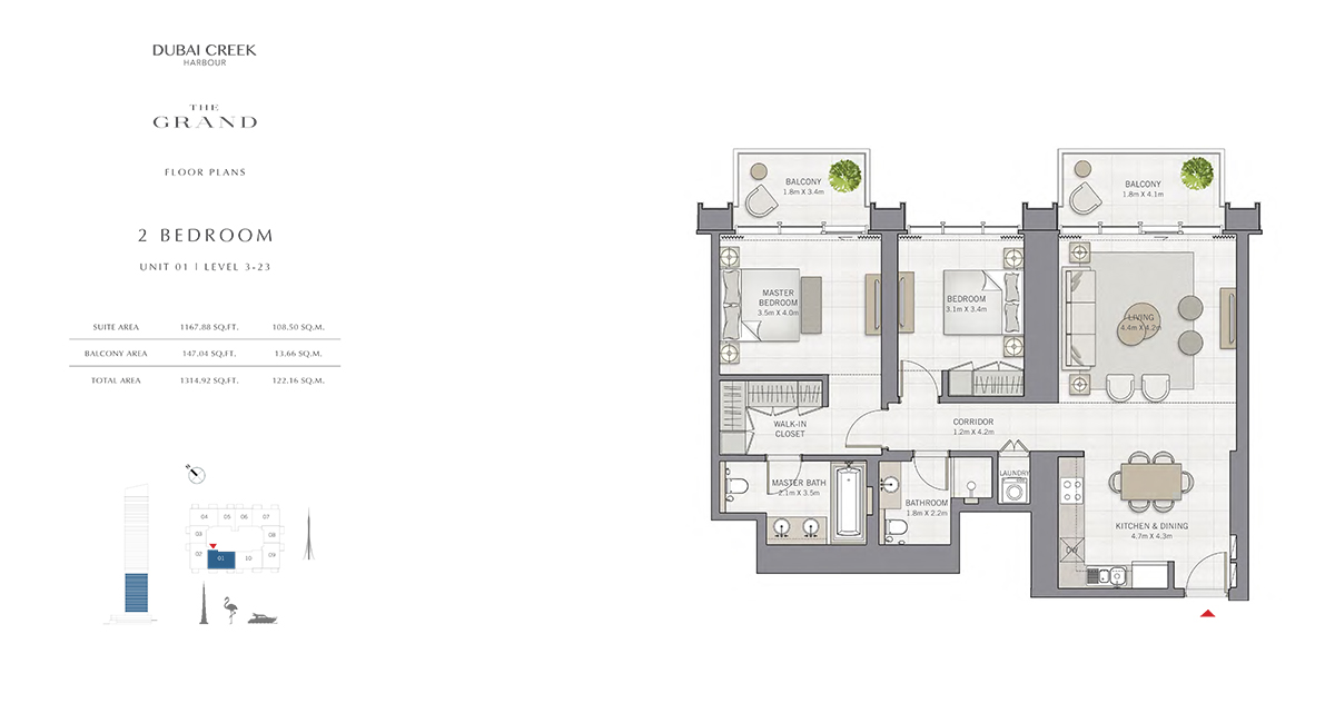2 Bedroom Size 1314.92 sq.ft
