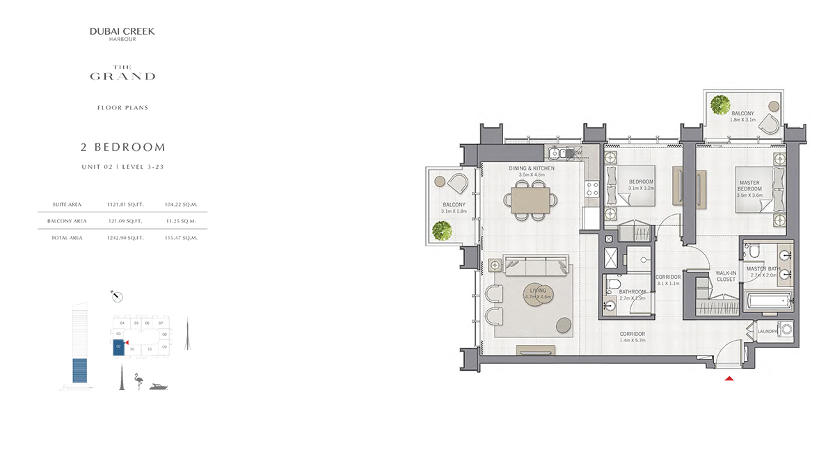 2 Bedroom Size 1242.90 sq.ft