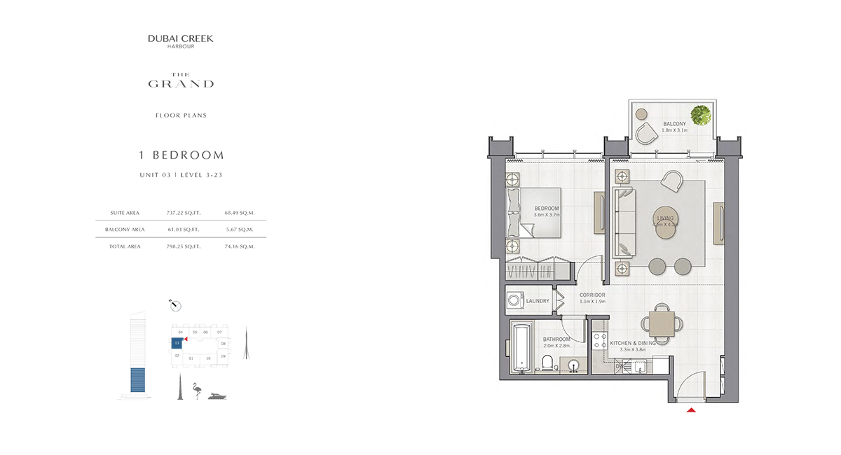 1 Bedroom Size 798.25 sq.ft