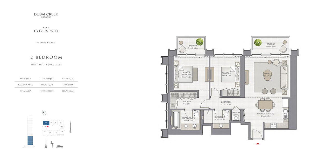 2 Bedroom Size 1299.20 sq.ft