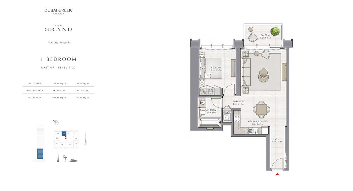 1 Bedroom Size 801.38 sq.ft