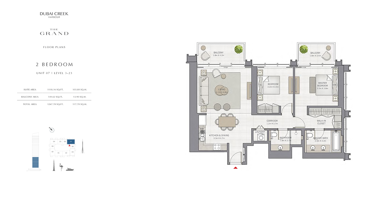 2 Bedroom Size 1267.78 sq.ft