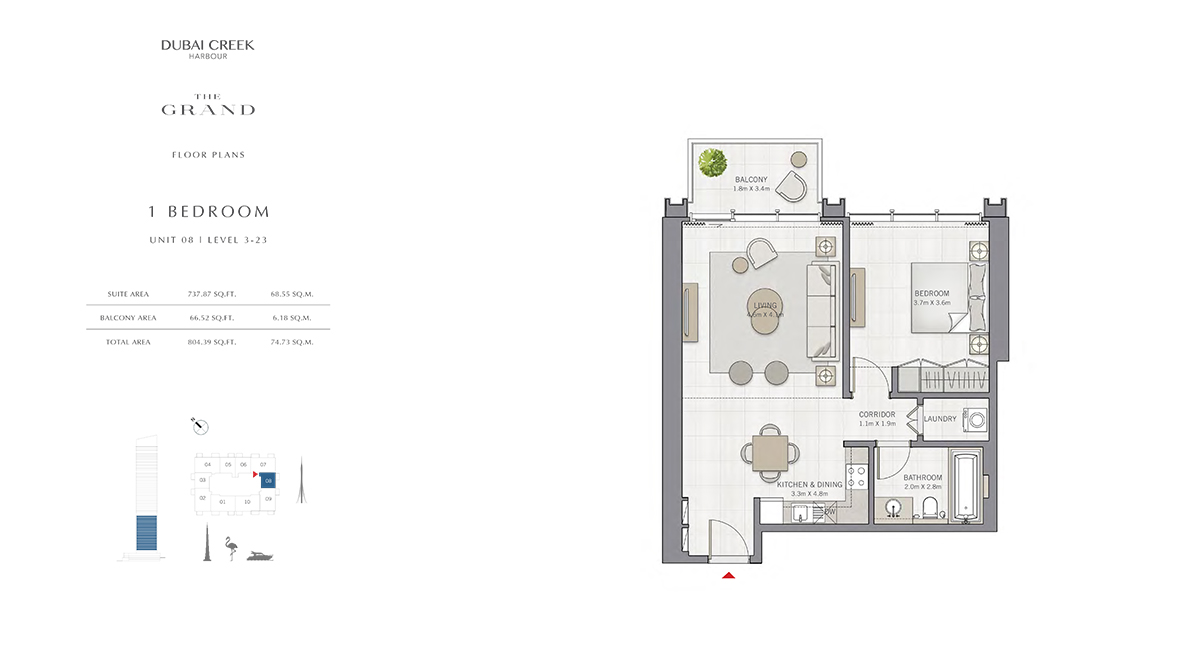 1 Bedroom Size 804.41 sq.ft