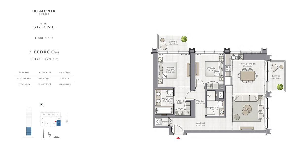 2 Bedroom Size 1228.05 sq.ft
