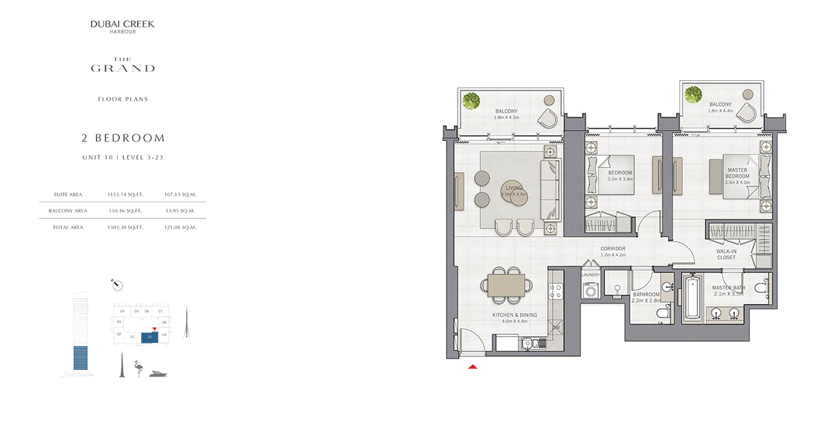 2 Bedroom Size 1303.30 sq.ft