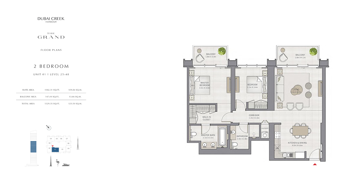 2 Bedroom Size 1329.33 sq.ft