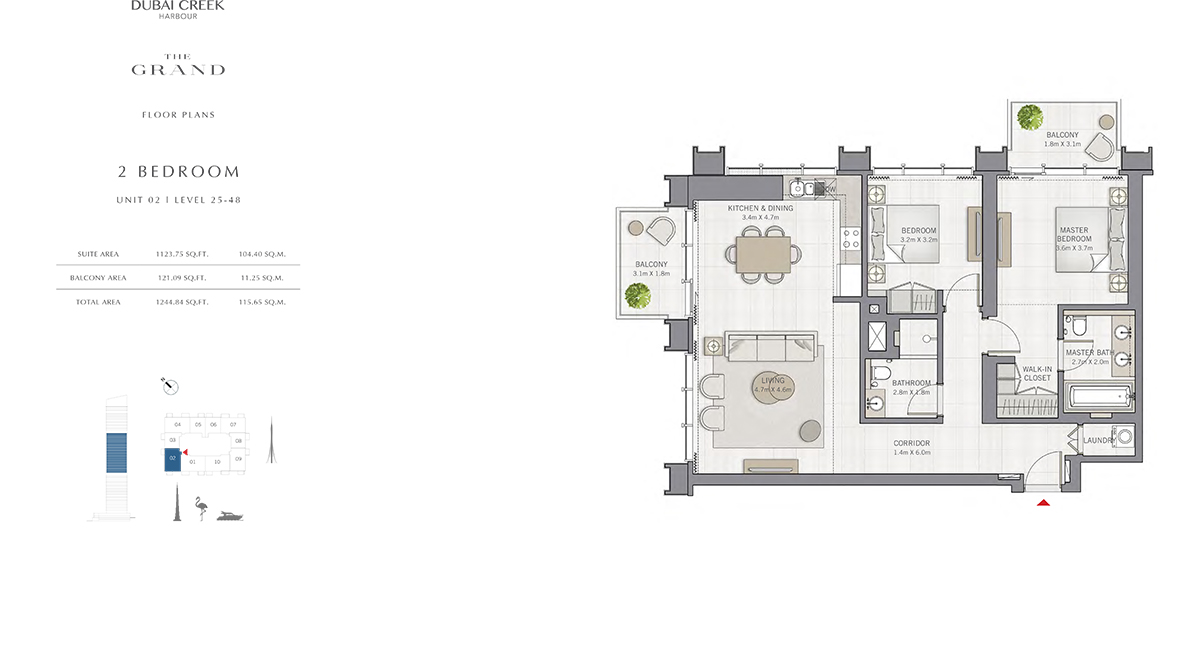 2 Bedroom Size 1244.84 sq.ft
