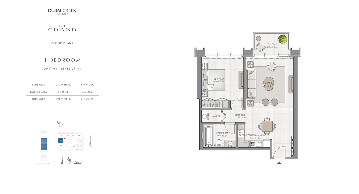 1 Bedroom Size 791.79 sq.ft