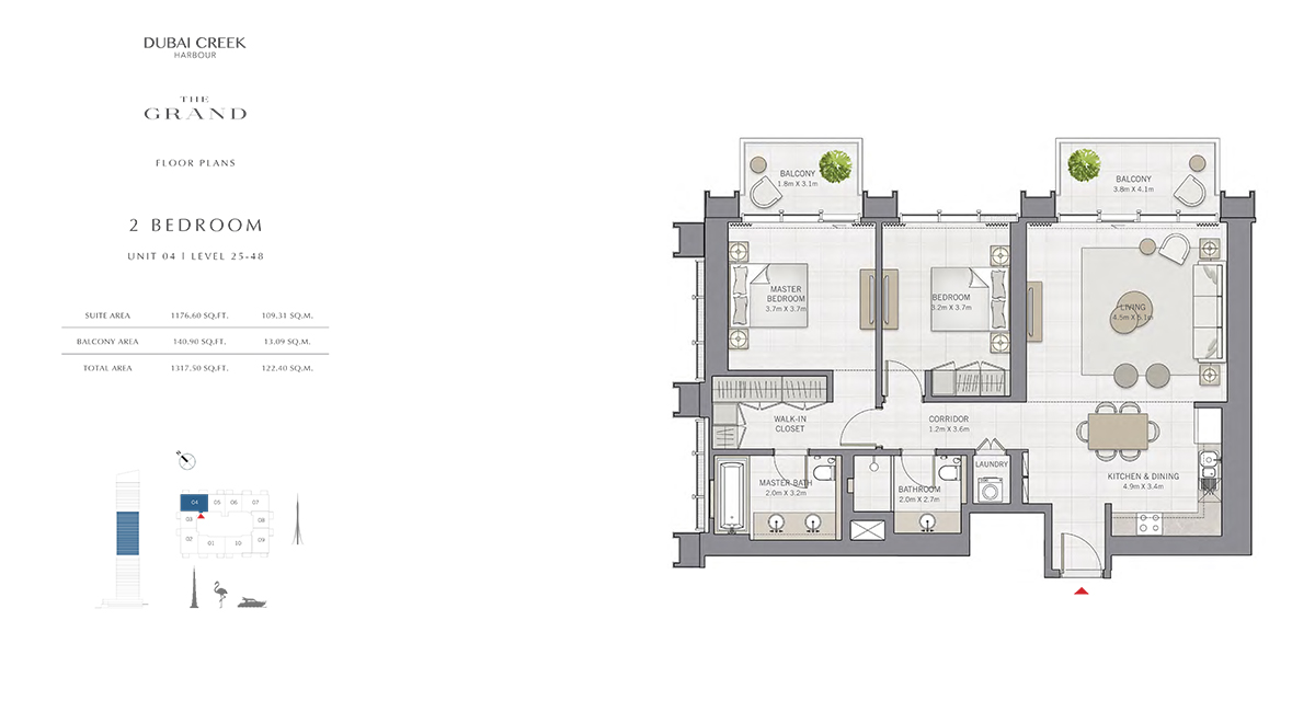 2 Bedroom Size 1317.50 sq.ft