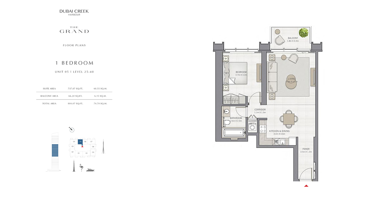 1 Bedroom Size 804.07 sq.ft