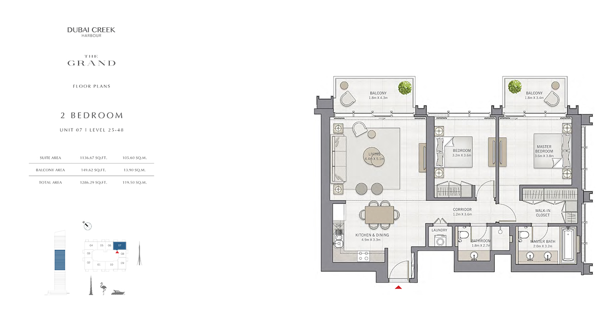 2 Bedroom Size 1286.29 sq.ft