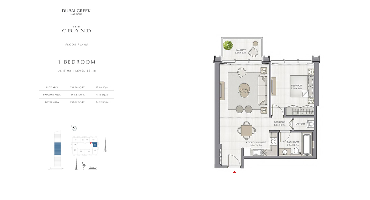 1 Bedroom Size 797.82 sq.ft