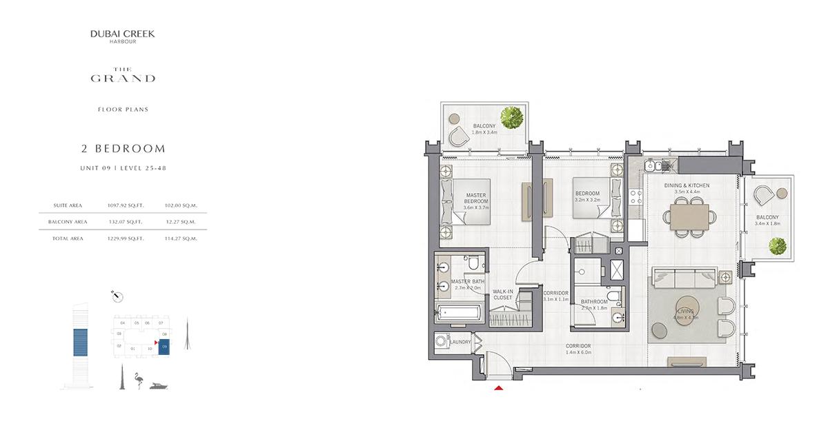 2 Bedroom Size 1229.99 sq.ft