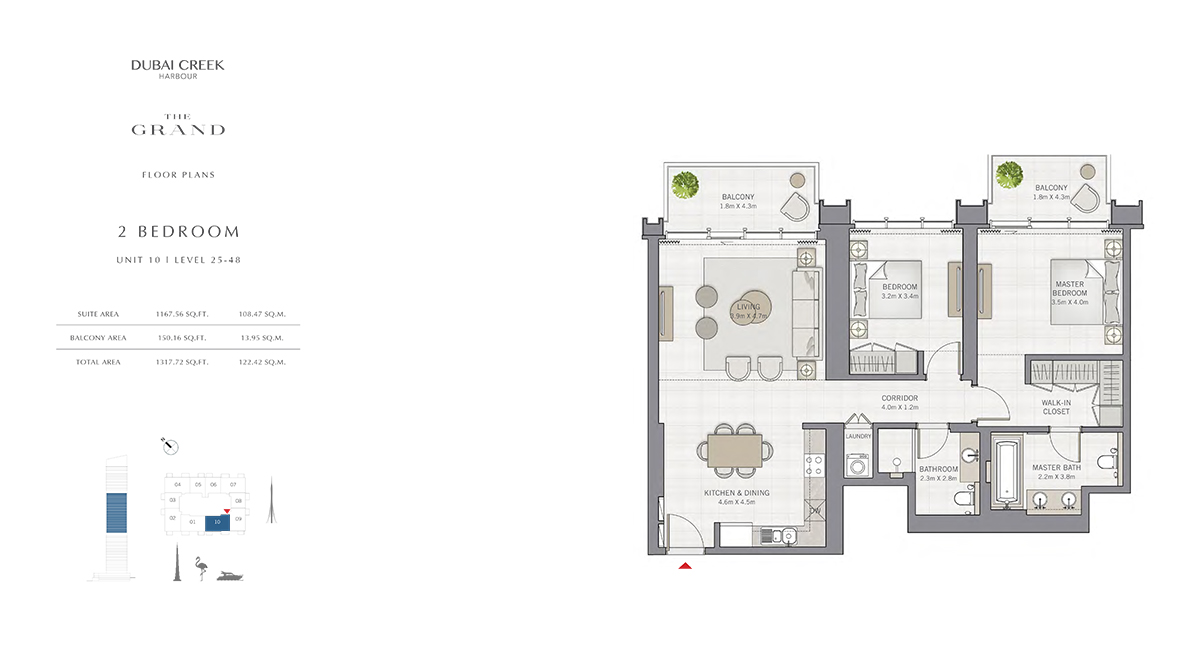 2 Bedroom Size 1317.72 sq.ft