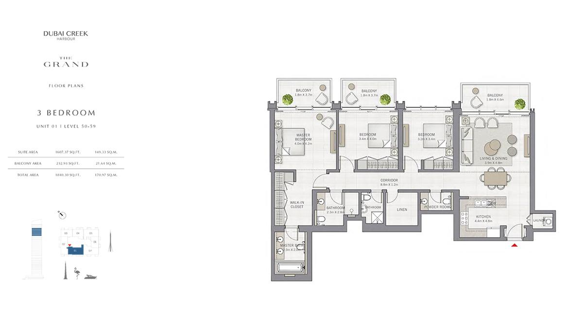 3 Bedroom Size 1840.30 sq.ft