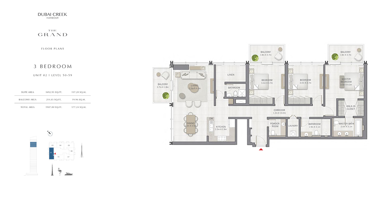 3 Bedroom Size 1907.80 sq.ft
