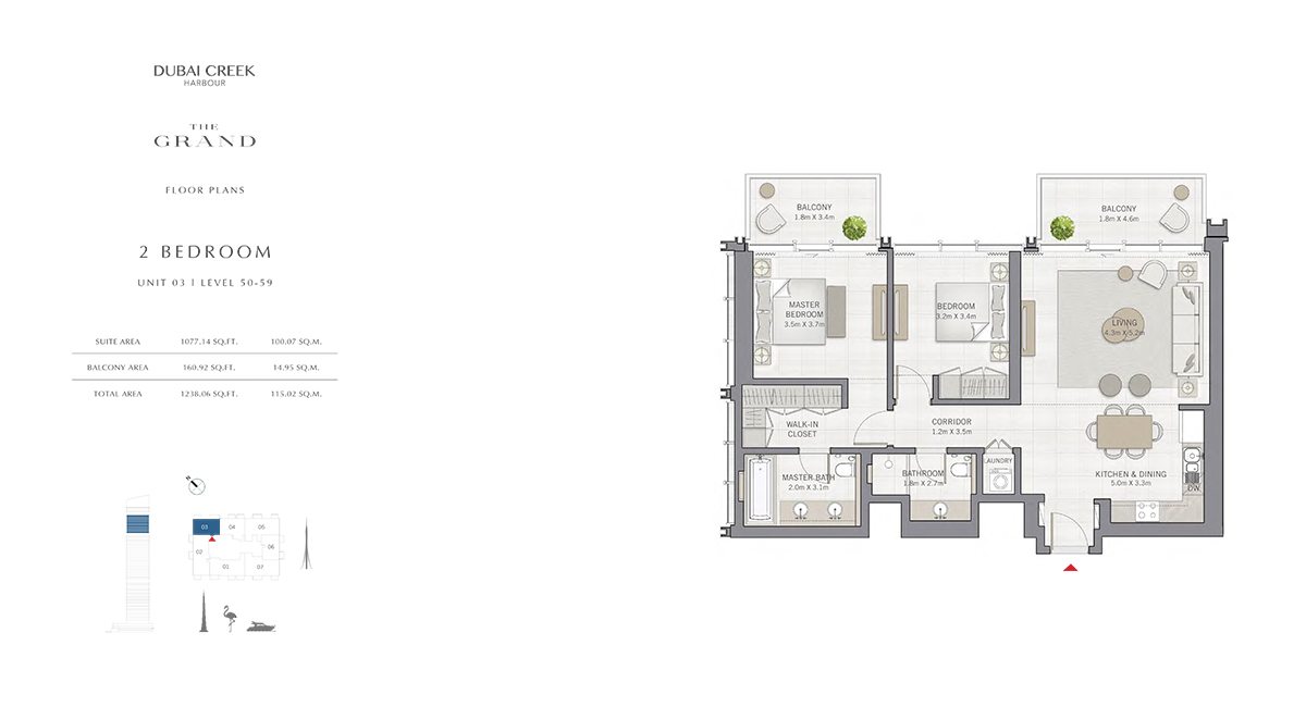 2 Bedroom Size 1238.06 sq.ft